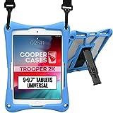 Cooper Trooper 2K Rugged Case for 9-9.7 Inch Tablet   Tough Bumper Protective Drop Shock Proof Kids Holder Carrying Cover Bag, Stand, Strap (Blue)