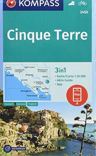 Cinque Terre 1:35 000: 3in1 Wanderkarte 1:35 000 mit Aktiv Guide inklusive Karte zur offline Verwendung in der KOMPASS-App. Fahrradfahren