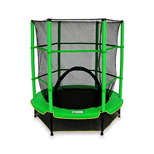 Kids Junior Trampolines With Safety Net Enclosure Surround 55 Inch (Green)