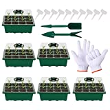 YADIMI Semillero Germinación Invernadero Bandejas de inicio plántulas Propagador marca Crecimiento con tapas + Mini pala + Perforadora 12 células + Etiqueta planta