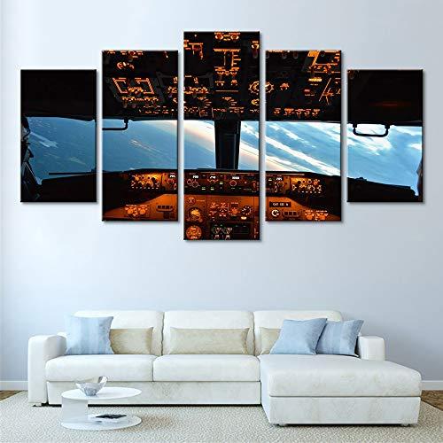 Zhuhuimin Moderne muurdecoratie, kunstdruk, vliegtuig, cockpit, fotoschildering, wooncultuur, woonkamer, linnen, hemel, poster kunst L-30x40 30x60 30x80cm Geen lijst