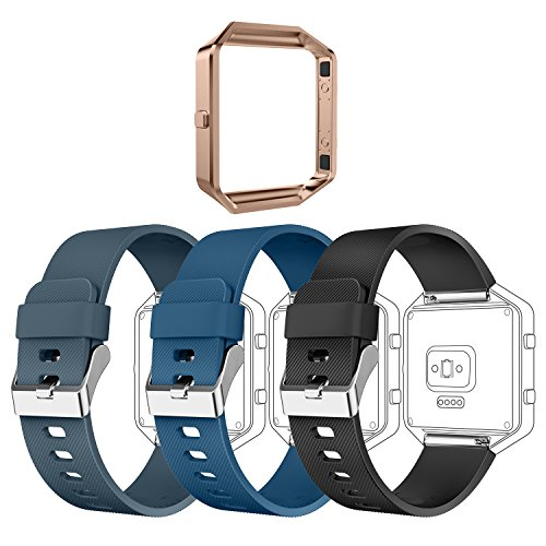 Greeninsync Compatible with Fit Bit Blaze Accessory Band,Replacement for Fit Bit Blaze Bands Adjustable Wristbands Large Bracelet Strap W/Metal Frame for Blaze Smart Watch,3pack+1pack Rose Gold Frame