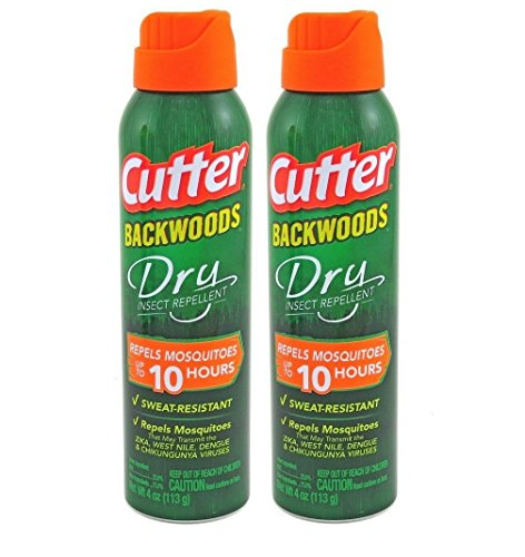 2 Cutter Backwoods Dry Insect Mosquito Repellent Aerosol Spray 4 oz 25% DEET OFF