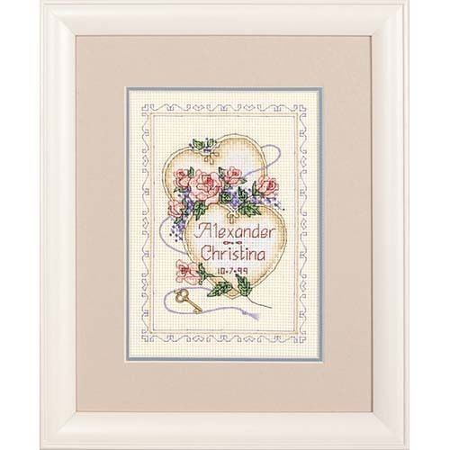 Treasured Words Wedding Record Mini Counted Cross Stitch Kit-7x5 14 Count
