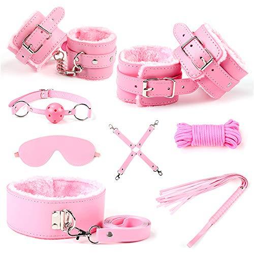 HUIJIE BDSM Toy Entertainment Sports Kit Bed Sports Belt Set Cuff Gag 8 Pink per Principianti Giochi