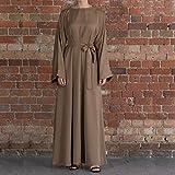 DSJTCH イードアバヤドバイトルコアラビア語イスラム教徒のファッションヒジャーブドレスカフタンイスラム教服ドレス女性VestidosローブMusulman・デ・モードの場合 (Color : Brown dress, Size : Medium)