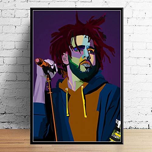 Weijiajia Juice Wrld J Paste Post Malone Mac Miller Travis Scoot Rapper Hip Hop Star Art Canvas Decor Decoración para el hogar Póster de Pared 50x70cm F-1982