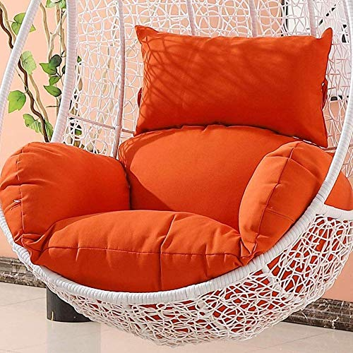 Garden Patio Rattan Swing Chair Wicker Hanging Egg Chair Hammock Cushion and Cover Indoor or Outdoor-Brown (Color : Orange)(NO CHAIR)-Orange iteration