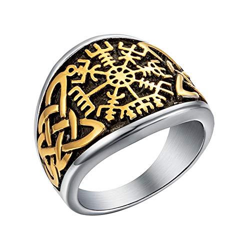 Anillo celta de color dorado para hombre, anillo de runa de motorista punk de acero inoxidable para hombre, joyería de fiesta para mujer, 12 oro y plata
