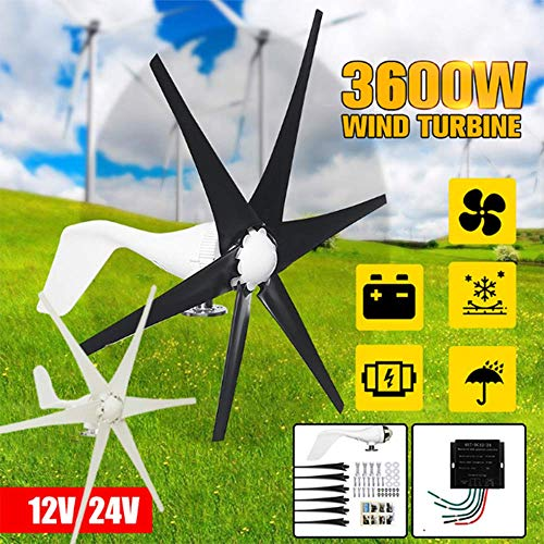 SISHUINIANHUA 3600W 12V 24 Volt Wind Turbines + Controller 6 Blatt Horizontal Home Wind Generator Powers Windmühle Energieanlagen Lade,Schwarz,1500w