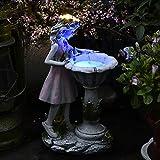 Yezytech Fée Figurine de Jardin,Fées Et Elfes,Petite Fée en Résine,Jardin Statuette,Solaire Jardin Fleur Fée Décoration De Jardin Résine Fleur Fée Lumière Solaire Fille Extérieure Jardin Décoration