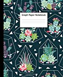 Graph Paper Notebook: Quad Ruled 5 x 5 (.20'') Graphing Paper Composition Book for Math & Science Students, 5 Squares per Inch, Large - Cool Succulent Geometric Design