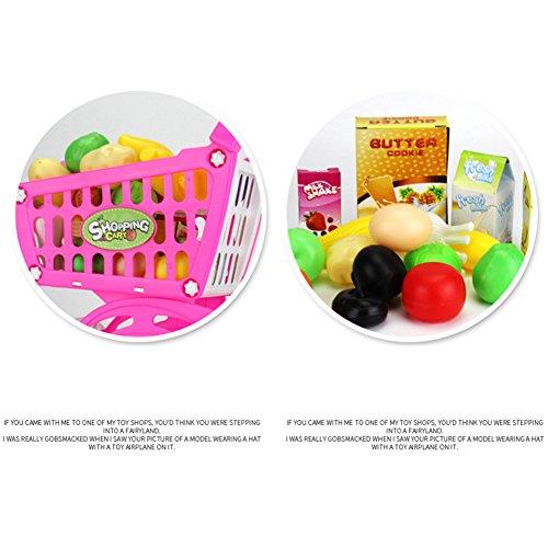 ACHICOO Kinder Spielen Haus Spiel Requisiten, Kunststoff Supermarkt Spielzeug Einkaufswagen mit Früchten Miniatur Essen Spielen Baby Frühes Lernspielzeug Pink Kinder, Freunde
