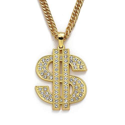 Gold Chain with Dollar Sign Big Money Necklaces for Men Women,Stainless Steel Iced Out Rhinestone Jewelry,Fashion Pendants with 28 Inches Chain