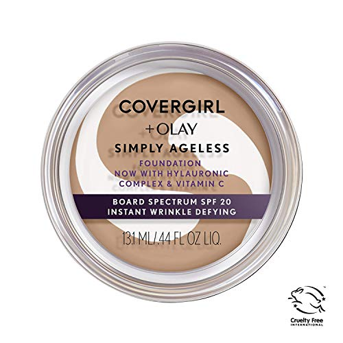 COVERGIRL & Olay Simply Ageless Instant Wrinkle Defying Foundation Natural Beige 0.4 Ounce Pot, Foundation Plus Titanium Dioxide Sunscreen (packaging may vary)