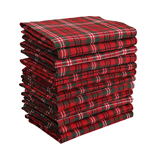 DG Collections Dinner Napkins, 100% Cotton Over Sized Kitchen Napkins, Set of 12 Pack (18 X 18 Inch) Red & Green Plaid, with Mitered Corner and Lint Free
