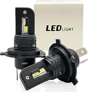 LIMEY 超コンパクト 一体型 H4 LEDヘッドライト Hi/Lo 車検対応 ホワイト 白 6000k 高輝度 12000lm DC12V バイク 車 EV車 ハイブリッド車 対応 長寿命 ファンレス 静音 光軸調整フリー 2個入り 1年保証