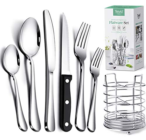 Teivio 24-Piece Stainless Steel Flatware Cutlery Set and 4 steak knife, Silverware Utensil Set with Countertop Caddy, Service for 4, Include Knives/Forks/Spoons, Mirror Polished