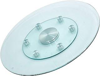 DIOE Plateau rond en verre trempé rotatif avec 6 roues auxiliaires pour silencieux/lisse