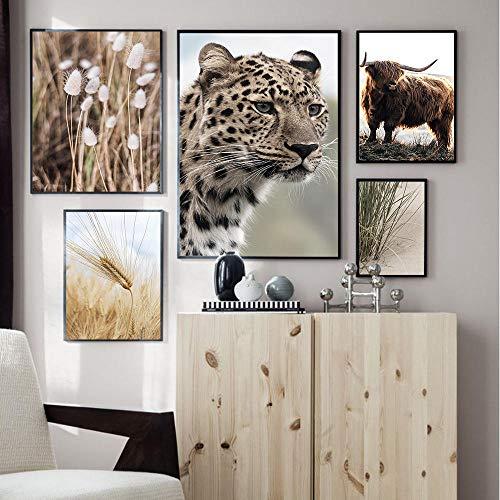 VVSUN Cartel escandinavo Impresión Simple Leopardo Highland Vaca Flor Arte de la Pared Imagen Pintura en Lienzo Decoración para el hogar 20x30cm 30X40cmx2 40X50cm 50X70cm Sin Marco