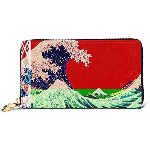Jacque Dusk Ledergeldbörse Belarus Flagge Und Welle Aus Kanagawa Brieftaschen Für...