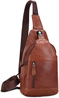 Leather Bag Mens Men's Casual Handmade Messenger Bag Leather Shoulder Bag Oil Wax Leather Chest Bag High Capacity (Color : Brown, Size : M)
