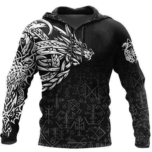 AQzxdc Viking Norse Mythology Odin Rune Sweatshirt, Viking Men Women 3D Printed Tattoo Totem Art Clothes, Unisex Pocket Long Sleeve Couple Casual Sweatshirt,Dragon,L