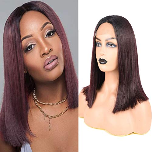 12 Inch Ombre Synthetic Lace Frontal Wigs Black to Wine Red Short Lace Front Bob Wigs for Women #1b/99j Middle Part Straight Wig Glue less Heat Resistant Fiber Hair Synthetic Wig