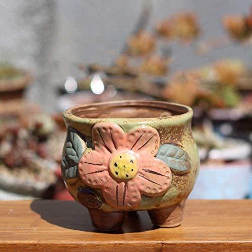 Bcaer Muchacha de cerámica hecha a mano Pote de gres simple Pintado a mano Potkorean Mini Cerámica Mini Cerámica Pote Creativo Manual Suculents Cactus Decoración de interior Ornamento Envase de planta