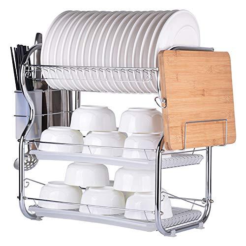 3 Schicht Edelstahl Kitchen Abtropfgestell Geschirrständer mit Besteckkorb und Abtropfschale für Küche Teller und Besteck