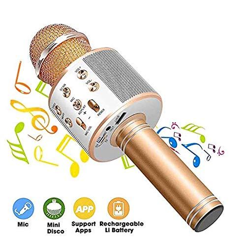 JKYQ Mikrofon drahtlose KTV drahtloses Mikrofon Karaoke Bluetooth singen tragbare Lautsprecher Kompatibel mit Android und iOS-Geräten,Gold