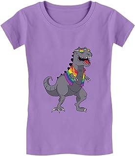 T-Rex Rawr Pride Parade LGBT Rainbow Flag Girls' Fitted Kids T-Shirt