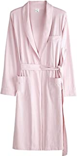 Women's Pajamas, Summer Thin Cotton Gowns, Solid Color Long-Sleeved Robes, Casual Home wear, Lapels, Laces, Pocket Design, Soft and Comfortable (Color : Pink, Size : M)