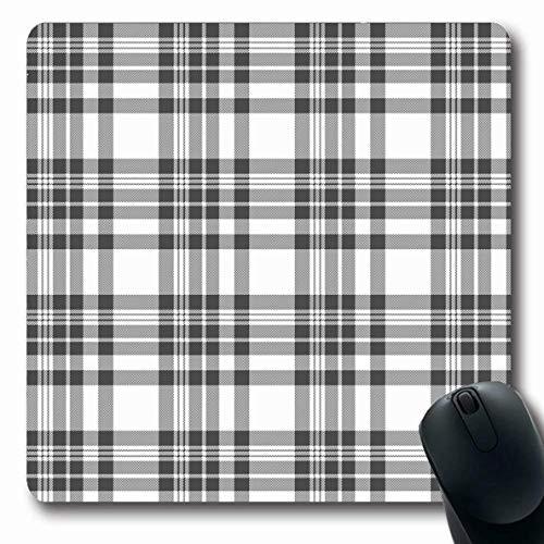 Mousepad Oblong Grey Check Pyjamas Tischset Tartan Plaid Pattern Grau Karierter Tisch Picknick Fleece Vintage Leinwand Rutschfeste Gummi Mauspad Büro Computer Computer Laptop Spielmatte