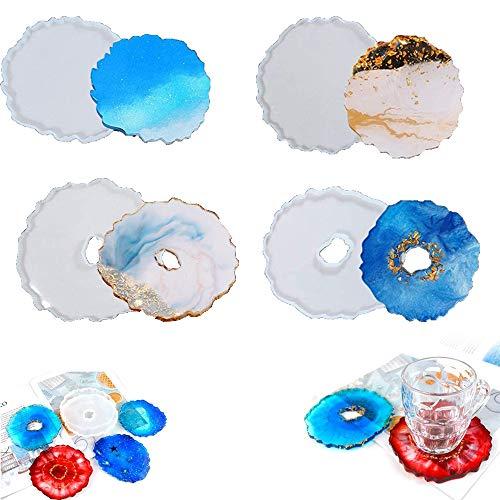 Sottobicchieri Stampo in Silicone, Stampi in Resina per Sottobicchieri, Stampo per sottobicchiere in Resina a Forma di fior, stampo in resina epossidica, per Ciotole e Decorazioni, 4 Pezzi