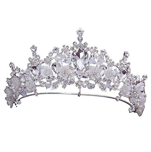 TINGTING Braut Kopfschmuck Krone Strass Handgefertigte Perlen Kopfschmuck Verheiratet Hochzeitskleid Prinzessin Zubehör Stirnband Einfache Atmosphäre Braut Haarbänder