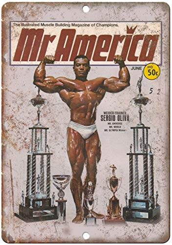 Lorenzo Mr America Sergio Oliva Weider Bodybuilding Vintage Metal Vintage Metal Vintage Metallblechschild Wand Eisen Malerei Plaque Poster Warnschild Cafe Bar Pub Bier Club Dekoration