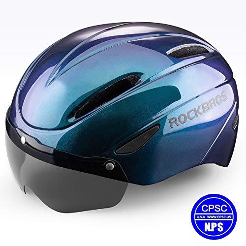 ROCK BROS Bike Helmet Cycling Helmet Road Mountain Bicycle Helmet CPSC Safety Standard with Detachable Magnetic Visor for Men Women (Chameleon Blue)