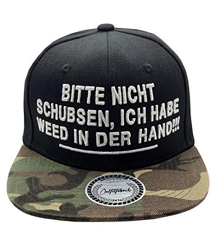 Outfitfabrik Snapback Cap Bitte Nicht schubsen, ich Habe Weed in der Hand in schwarz/Camouflage mit 3D-Stick (Hanf, Festival, Dope, Canabis)