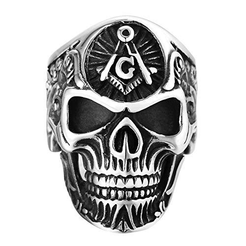 DFWY Men's Stainless Steel Gothic Skull Vintage Masonic Ring,Skeleton Head Freemason Signet Biker Ring,Fashion Punk Style Classic Band Jewelry (Size : 11)
