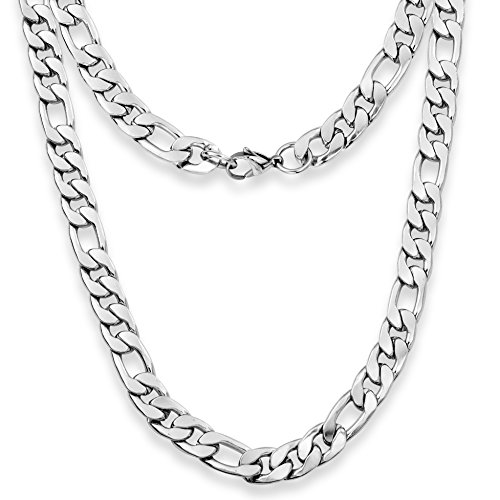 Silvadore - 9mm Figaro Necklace OR Bracelet Chain - Men's Silver Stainless Steel Jewellery - 8'' / 20' / 22'' / 24' - 60 Days (20, Velvet Pouch)