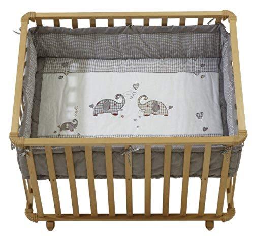 roba Laufgitter 'Jumbotwins', Laufstall 75x100 cm, sicheres Spielgitter inkl. Schutzeinlage & Rollen, Baby Krabbelgitter, Holz natur