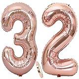 Ouceanwin 2 Ballons Numéro 32 Or Rose, Géant Ballon Chiffre 32 Numero Ballons Feuille 40 Pouces Helium Ballons Gonflable pour 32 Ans Anniversaire Décorations de Fête Filles (100cm)