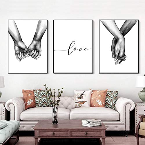 """16""""x20"""" Love and Hand in Hand Wall Art Canvas Print Poster,Simple Fashion Black and White Sketch Art Line Drawing Decor for Home Living Room Bedroom Office(Set of 3 Unframed)"""