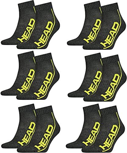 HEAD Unisex Performance Quarter Socken Sportsocken 12er Pack (DarkGrey/Lime, 43-46)