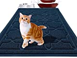 Yimobra Durable Cat Litter Mat, XL Jumbo 35.4 x 23.6 Inches, Easy Clean Cat Mats, Non-Slip, Water Resistant, Traps for Litter Boxes, Pet Litter Floor Mats, Soft, No Phthalate,Dark Blue