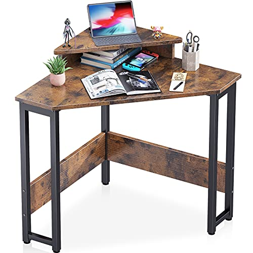 ODK Corner Desk Space Saving Small Desk with Sturdy Steel Frame, Computer Desk with Monitor Stand...
