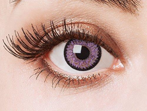 Natürliche farbige Kontaktlinse Diamond Fever Violet by aricona –Jahreslinsen für helle Augenfarben, ohne Stärke, Farblinsen als Modeaccessoire für den täglichen Gebrauch
