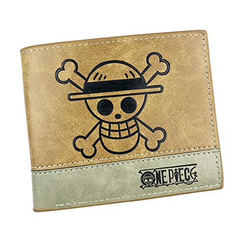 Gumstyle One Piece Anime Men's Artificial Leather Bifold Wallet 6 Slots Card Holder Two-color Stitching 1