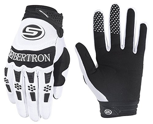 Seibertron Dirtpaw Hombres Profesional Bicicletas MTB Racing Off-Road/Dirt Bike Deportes Guantes (Blanco, M)